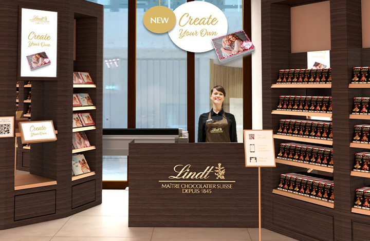 The screen where you can design your praline packaging
