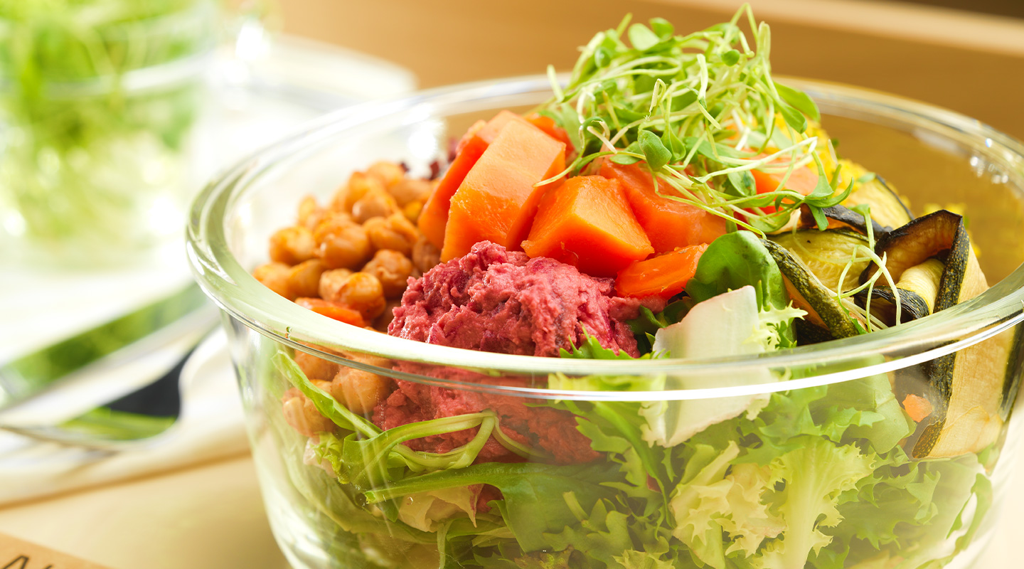 Choose from a selection of healthy salads in the Lindt Home of Chocolate